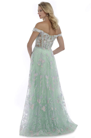 Morrell Maxie - 16085 Floral Appliques Off-Shoulder A-Line Gown Special Occasion Dress 0 / Seafoam