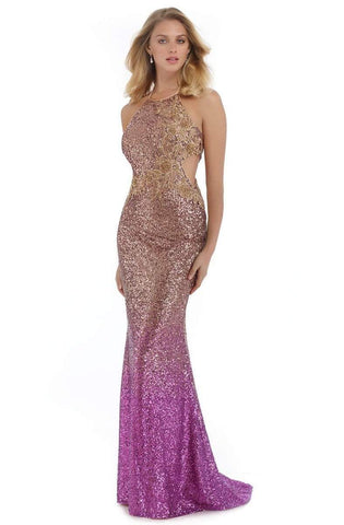Morrell Maxie - 16086 Fully Sequined Halter Mermaid Dress Special Occasion Dress 0 / Gold/Fuchsia
