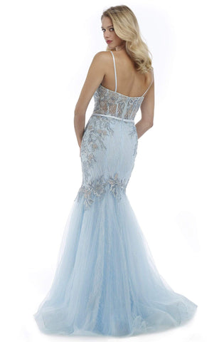 Morrell Maxie - 16087 Embroidered Sweetheart Tulle Mermaid Dress Special Occasion Dress 0 / Ice Blue