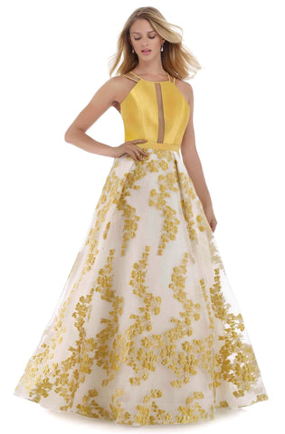 Morrell Maxie - 16089 Mikado Halter Brocade A-line Dress Special Occasion Dress 0 / Lemon/Gold