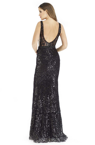 Morrell Maxie - 16239 Sequined Plunging V-Neck Sheath Gown Special Occasion Dress 2 / Black