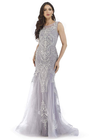 Morrell Maxie - 16244 Bead Embellished Trumpet Evening Gown Special Occasion Dress 4 / Blue/Grey
