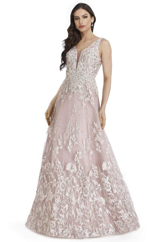 Morrell Maxie - 16249 Embroidered Deep V-neck A-line Gown Special Occasion Dress 4 / Dusty Rose