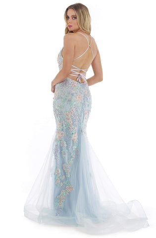 Morrell Maxie - 16252 Embroidered Plunging V-Neck Trumpet Dress Prom Dresses 0 / Ice Blue