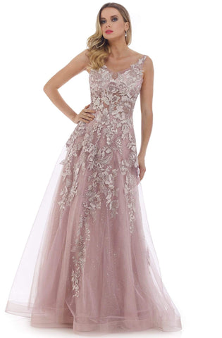 Morrell Maxie - 16254 Embroidered V-neck Tulle A-line Gown Prom Dresses 0 / Dusty Lavender