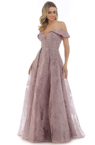Morrell Maxie - 16267 Embroidered Deep Off-Shoulder A-line Dress Ball Gowns 4 / Dusty Lavender