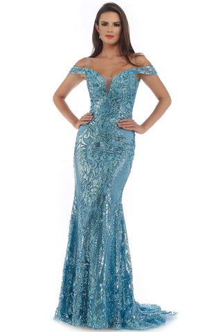Morrell Maxie - 16276 Sequined Deep Off-Shoulder Trumpet Dress Prom Dresses 0 / Blue/Silver