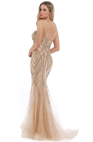 Morrell Maxie - 16280 Embellished Deep Sweetheart Trumpet Dress Evening Dresses 0 / Champagne