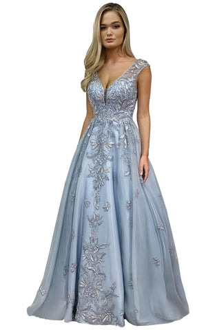 Morrell Maxie - 16301 Embellished Deep V-neck Tulle Gown Prom Dresses 2 / Ice Blue