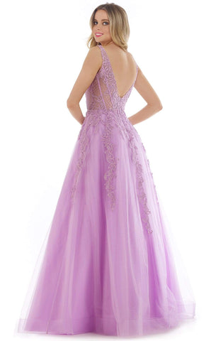 Morrell Maxie - 16312 Illusion Appliqued Bodice A-Line Gown Prom Dresses 8 / Lavender