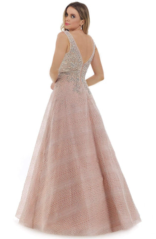 Morrell Maxie - 16330 Embroidered Tulle V-neck A-line Gown Prom Dresses 6 / Rose