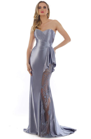 Morrell Maxie - 16336 Strapless Embroidered Sheath Dress Evening Dresses 0 / Blue/Grey