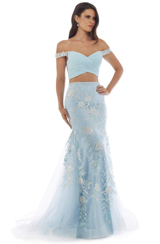 Morrell Maxie - 16342 Two-Piece Off-Shoulder Trumpet Dress Evening Dresses 0 / Ice Blue
