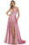 Morrell Maxie - 16348 Deep V-neck Satin Charmeuse A-line Gown Prom Dresses 0 / Rose