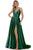 Morrell Maxie - 16348 Deep V-neck Satin Charmeuse A-line Gown Prom Dresses