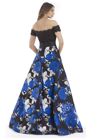 Morrell Maxie - Lace Off-Shoulder Floral A-line Dress 15620 - 1 pc Royal Black in Size 4 Available CCSALE 4 / Royal Black