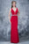 Nina Canacci - 2124 Plunging Adorned Waist Sleeveless Gown Special Occasion Dress 0 / Burgundy