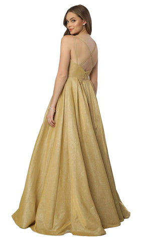 Nox Anabel - E228 Sleeveless V-neck Pleated Ballgown Special Occasion Dress XS / Gold