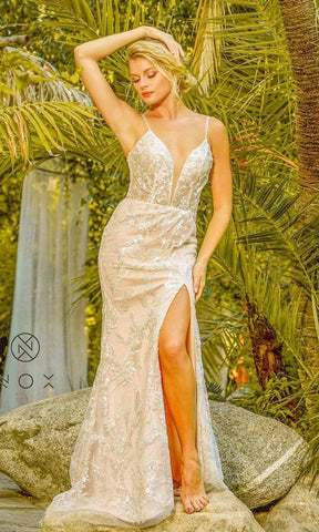 Nox Anabel - E459 Sequined Lace High Slit Sheath Bridal Gown Wedding Dresses