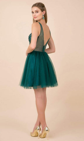 Nox Anabel - G694 Bead Embellished A-Line Cocktail Dress Homecoming Dresses XS / Green
