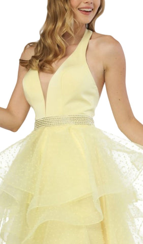 Nox Anabel - T256 Plunging Halter Dotted Lace Tiered Gown Special Occasion Dress XS / Lemon