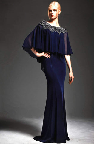 Park 108 - M167 Bead-Crusted Bateau Neck Cape Gown