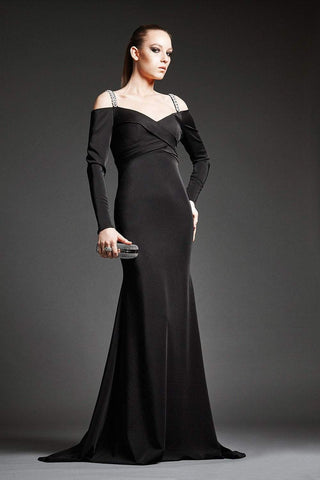 Park 108 - M192 Beaded Long Sleeve V-neck Trumpet Dress