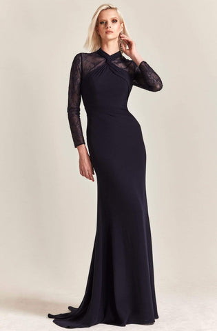 Park 108 - M211 Twisted High Neck Long Sleeve Sheath Gown