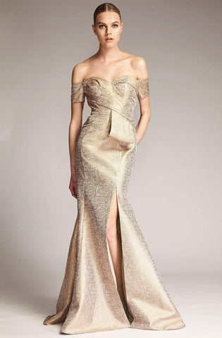 Park 108 - M319 Off-Shoulder Trumpet Evening Gown with Slit