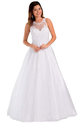 Poly USA - 7490 Embroidered Halter Tulle A-line Gown Wedding Dresses XS / White