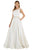 Poly USA - 8044 Beaded Scoop Jacquard A-line Gown Formal Gowns XS / Ivory