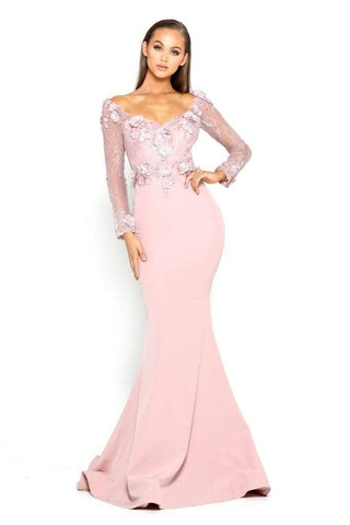 Portia and Scarlett - PS1906 Floral Lace Off-Shoulder Mermaid Dress Prom Dresses