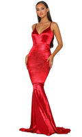 V-neck Mermaid Sleeveless Plunging Neck Natural Waistline Fitted Evening Dress