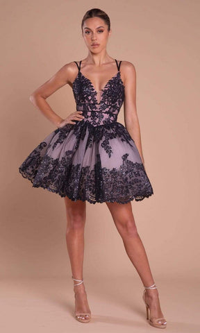 Portia and Scarlett - PS21007 Sequined Lace Applique Short Dress Special Occasion Dress in Pink and Black