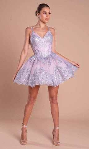 Portia and Scarlett - PS21008 Glitter Accented Short A-Line Dress Cocktail Dresses 0 / Silver Blush