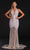 Portia and Scarlett - PS21107 Stripe Embellished Plunging Halter Gown Special Occasion Dress 0 / Stone