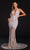 Portia and Scarlett - PS21107 Stripe Embellished Plunging Halter Gown Special Occasion Dress