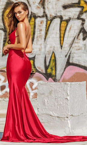 Portia and Scarlett - PS21205 Deep V Neck Trumpet Dress With Slit Prom Dresses 0 / Red