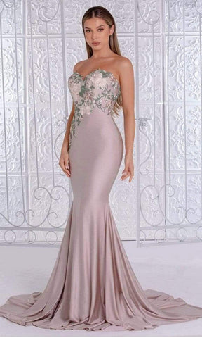 Portia and Scarlett - PS21243 Strapless Floral Embroidered Long Dress Bridesmaid Dresses 0 / Stone