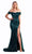 Portia and Scarlett - PS21254 Off Shoulder Sequined Slit Gown Evening Dresses 0 / Emerald