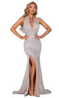 Tall Sexy Natural Waistline Mermaid Metallic Draped Asymmetric Ruched Gathered Glittering Back Zipper Open-Back Slit Halter Plunging Neck Sleeveless Dress with a Brush/Sweep Train