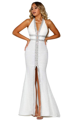 Portia and Scarlett - PSB6804 V Neck Slit Trumpet Dress Wedding Dresses 0 / Ivory Silver