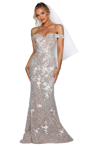 Portia and Scarlett - PSB6810 Off-Shoulder Adorned Trumpet Gown Wedding Dresses 0 / Ivory Nude
