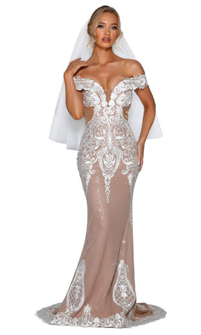 Portia and Scarlett - PSB6811 Embroidered Off Shoulder Long Gown Wedding Dresses 0 / Ivory Nude