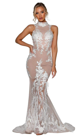 Portia and Scarlett - PSB6812 High Neck Sheer Long Dress Wedding Dresses 0 / Ivory Nude
