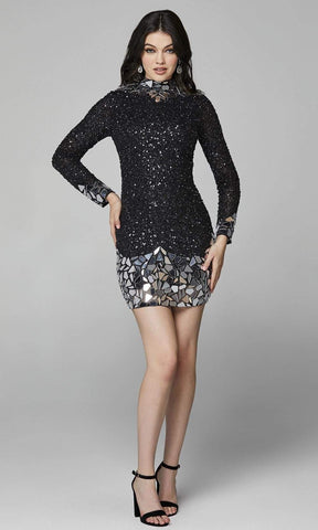 Primavera Couture - 3503 Sequined Long Sleeve Fitted Cocktail Dress Homecoming Dresses 00 / Black