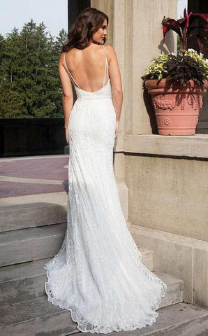Rachel Allan Bridal - Embroidered Plunging Bridal Dress M627 - 1 pc White In Size 4 Available CCSALE 4 / White