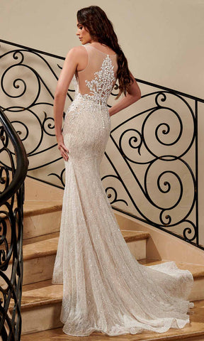 Rachel Allan - M771 Illusion Plunging Neck Beaded Mermaid Wedding Gown Wedding Dresses 00 / Ivory Nude