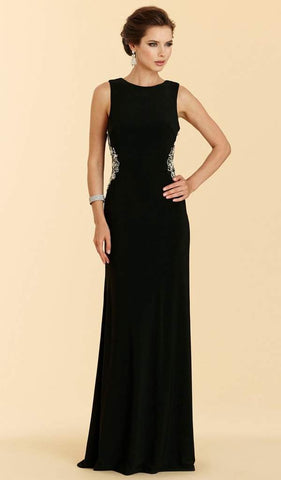 Rina Di Montella - Bejeweled Bateau Jersey Sheath Dress RD2029 - 1 pc Black in Size 10 Available