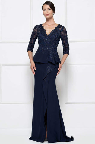 Rina Di Montella - RD2685 Lace Embroidered V-neck Bodice Sheath Dress with Slit - 1 pc Navy In Size 16 Available